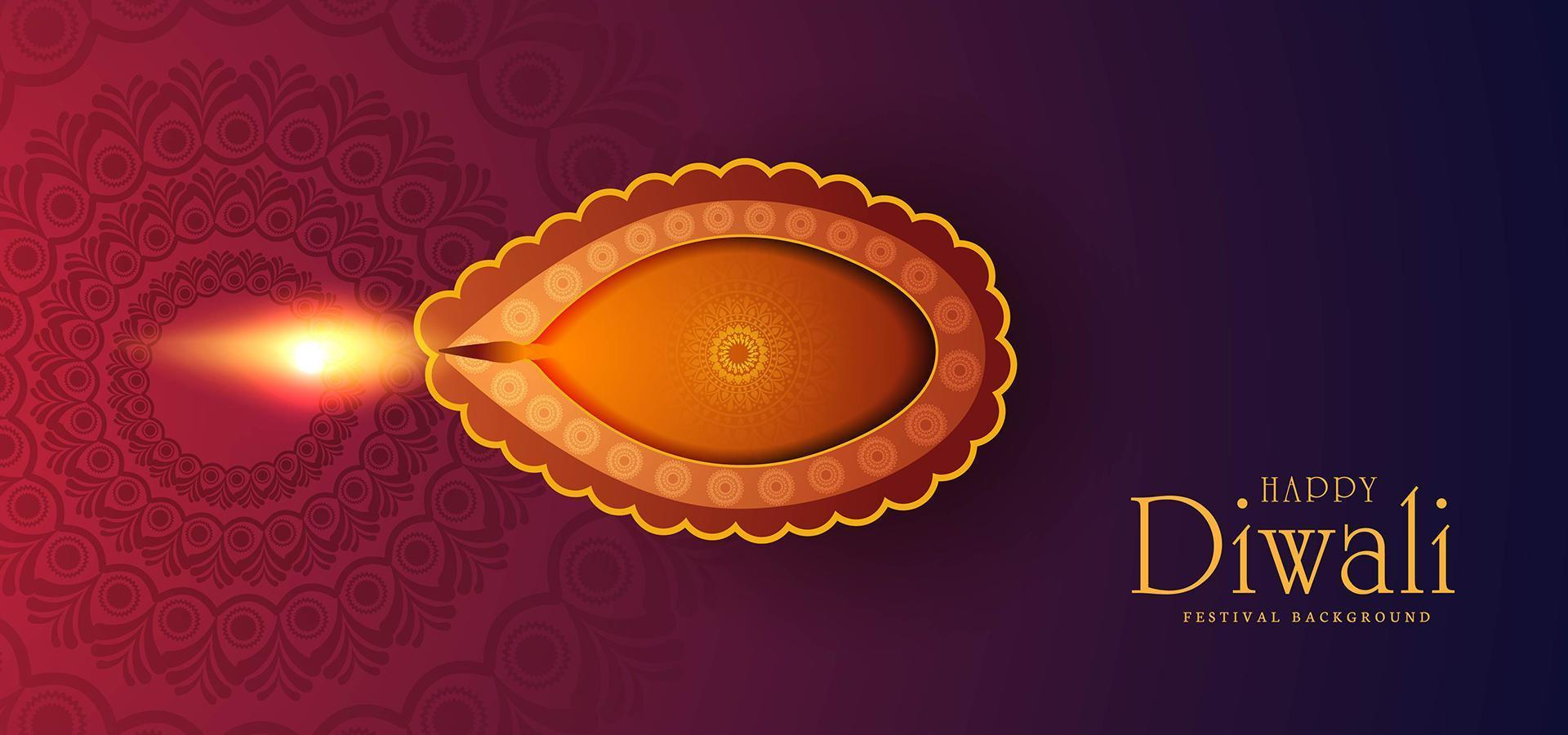 felice diwali celebrazione biglietto di auguri sfondo vettore