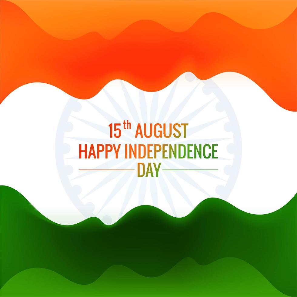 felice giorno dell'indipendenza dell'india tricolore vettore d'onda