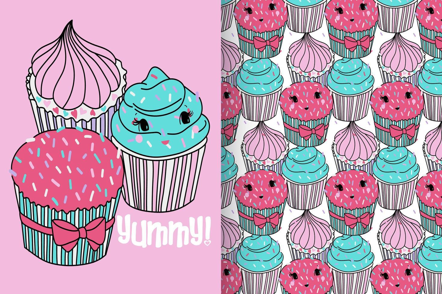 cupcake carino disegnato a mano con set di pattern vettore