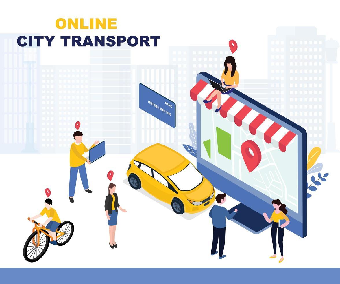 pagina di destinazione del servizio online di trasporto urbano vettore