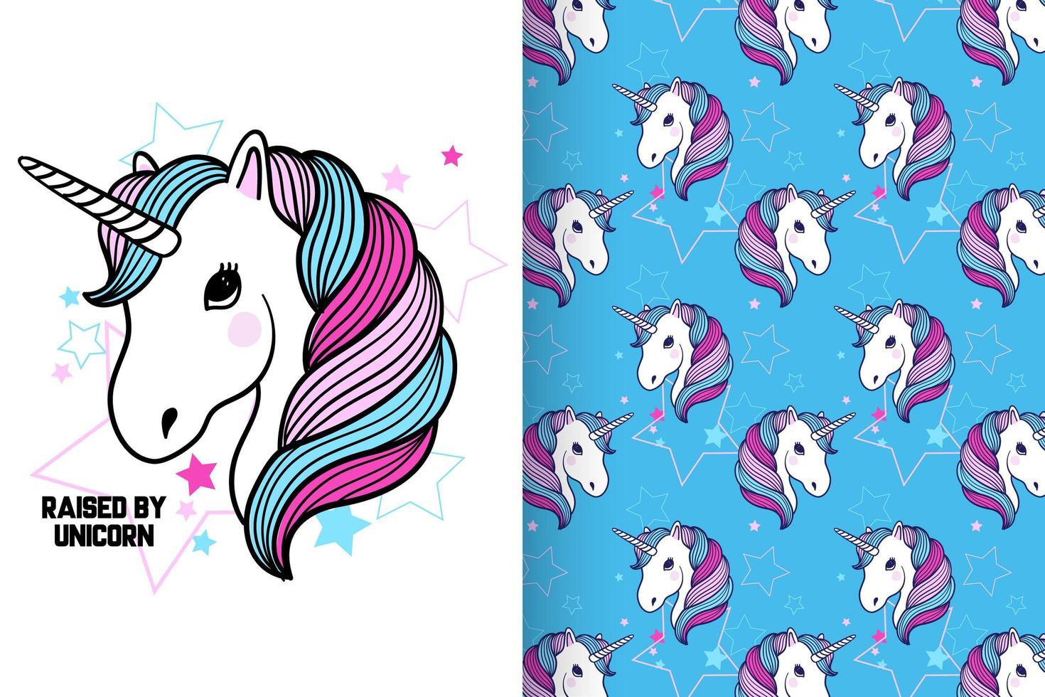 unicorno carino disegnato a mano con set di pattern vettore