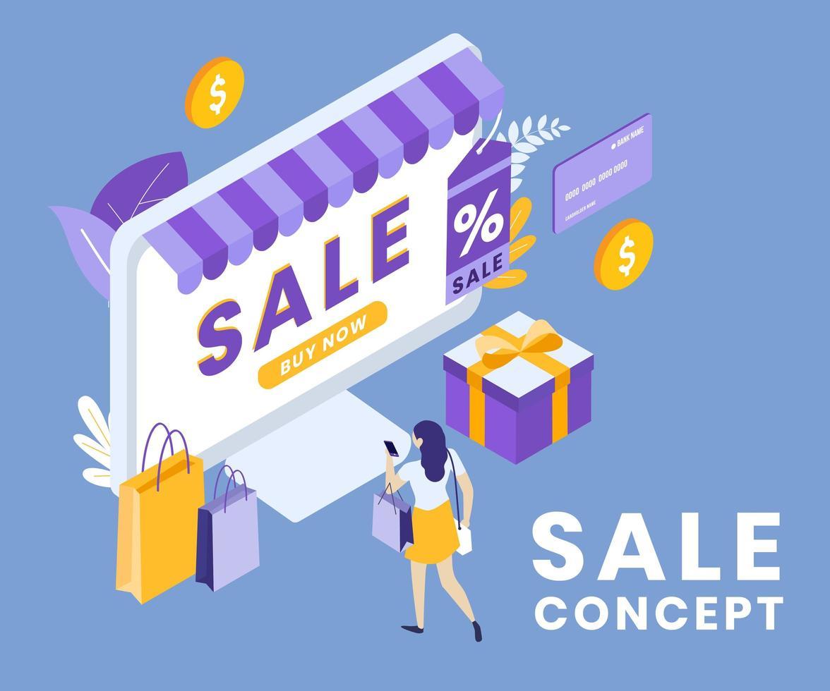 disegno isometrico del concetto di vendita online vettore