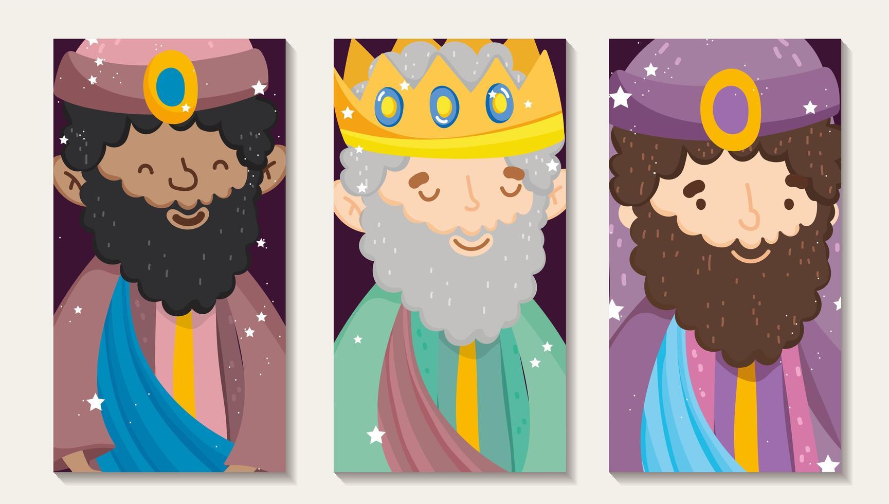 buon natale e poster presepe con i tre magi vettore