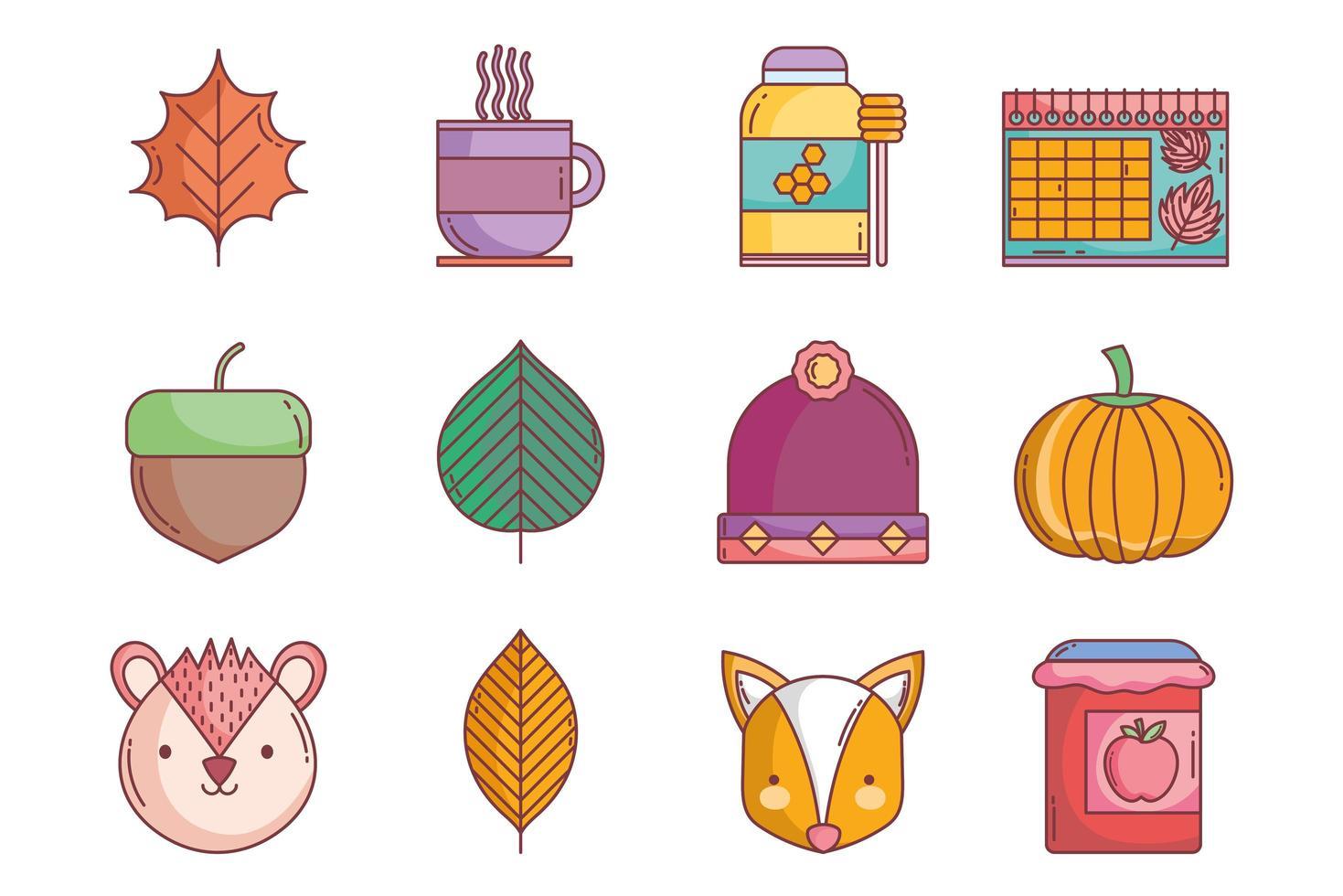 set di icone autunno carino vettore