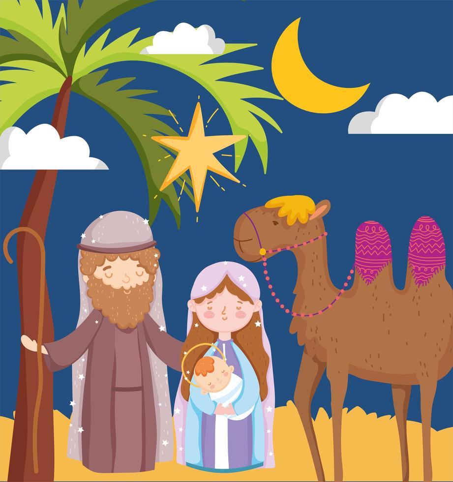 buon natale e poster della natività con la sacra famiglia vettore