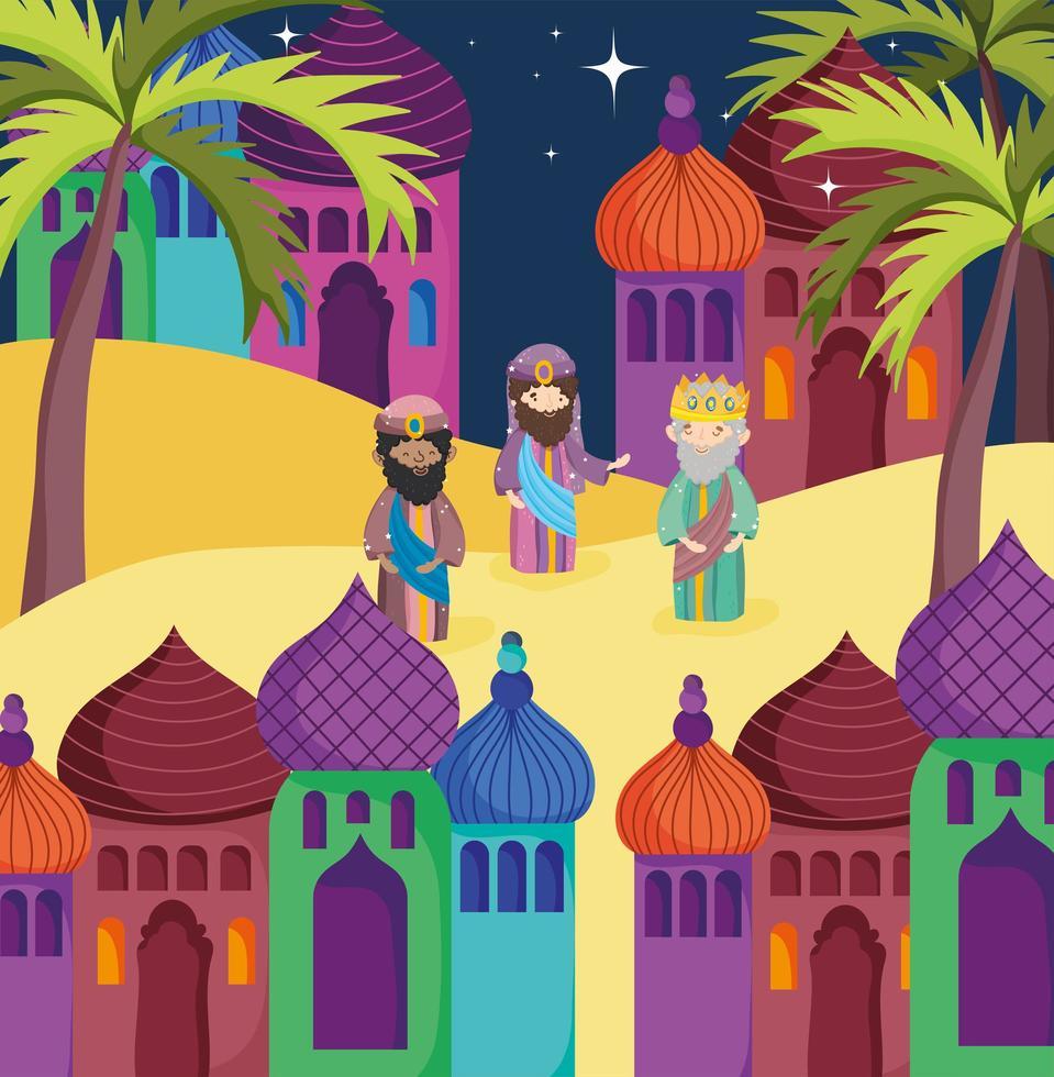 buon natale e poster della natività con i tre magi vettore