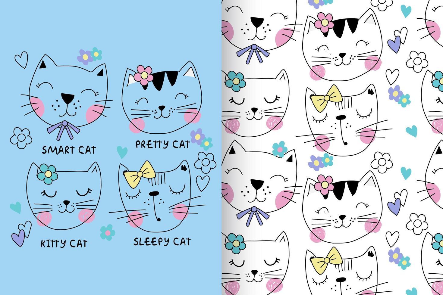gattino carino disegnato a mano con set di pattern vettore