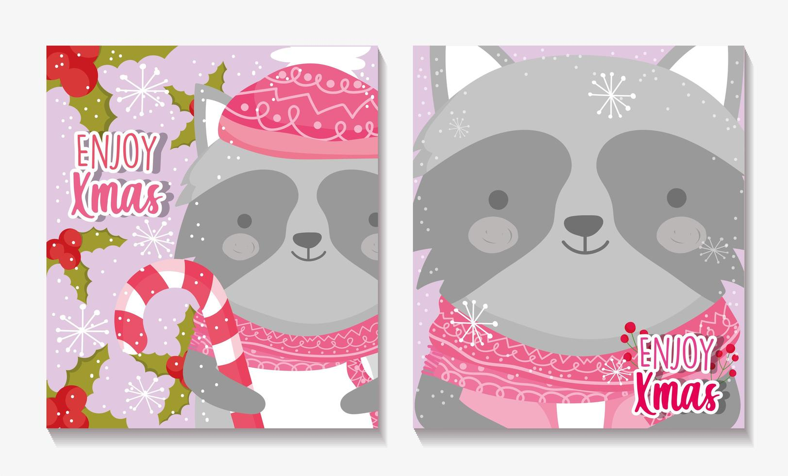 Merry Christmas card set con felice procione vettore