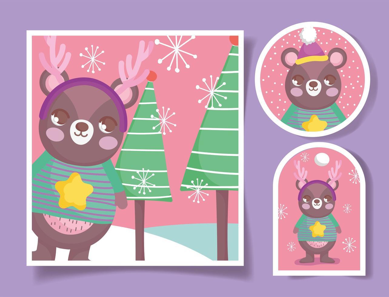 simpatici tag natalizi con orso felice vettore