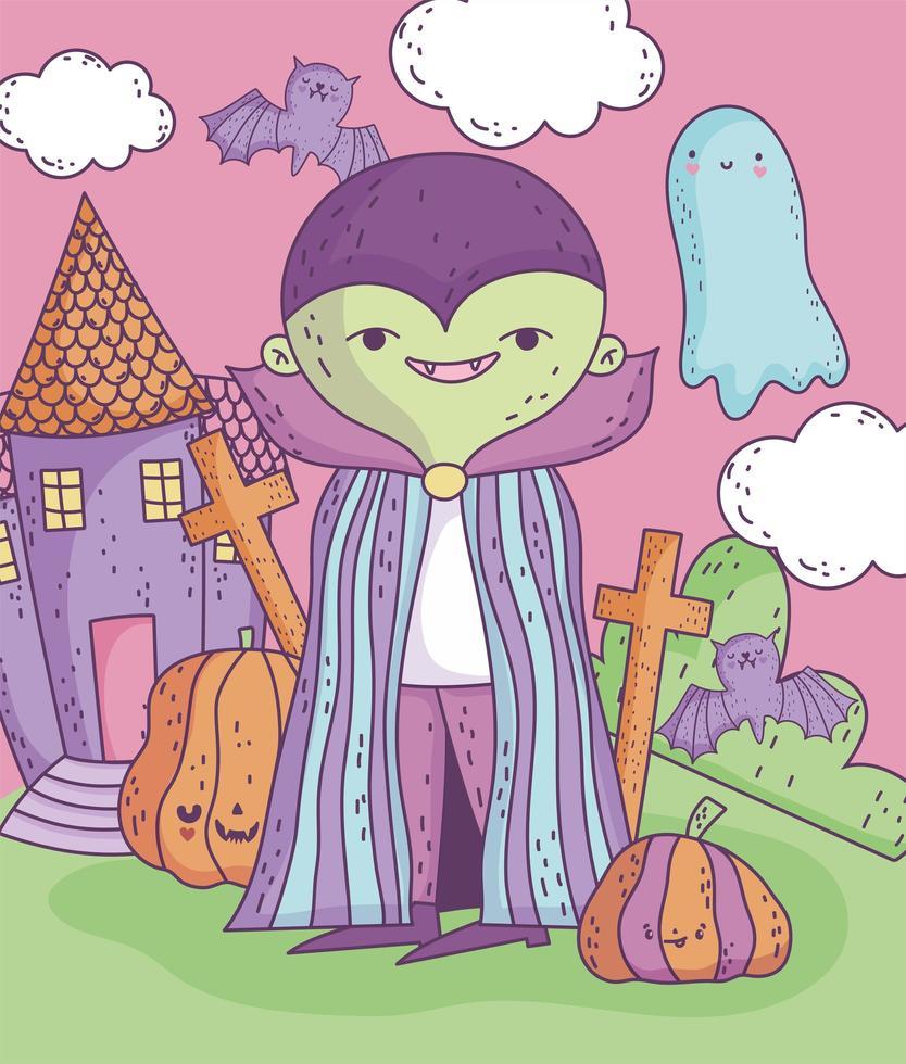 simpatico poster di halloween con personaggio vampiro vettore