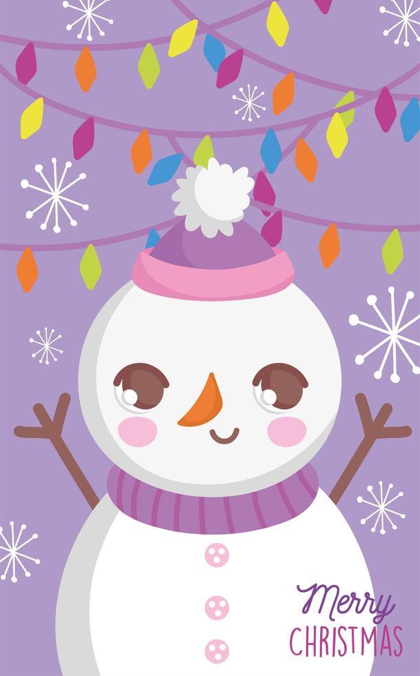 buon natale poster con pupazzo di neve felice vettore