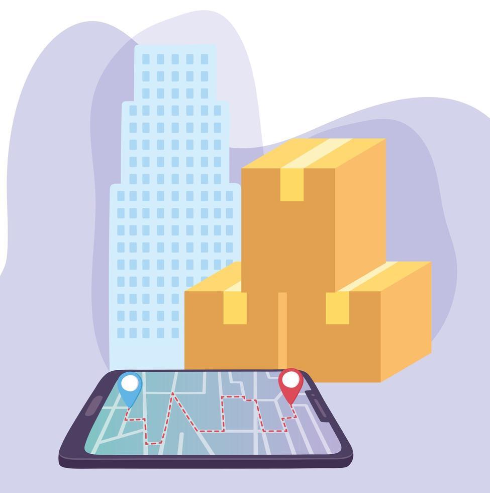 concetto di consegna sicura durante il coronavirus con smartphone, navigazione gps e scatole vettore