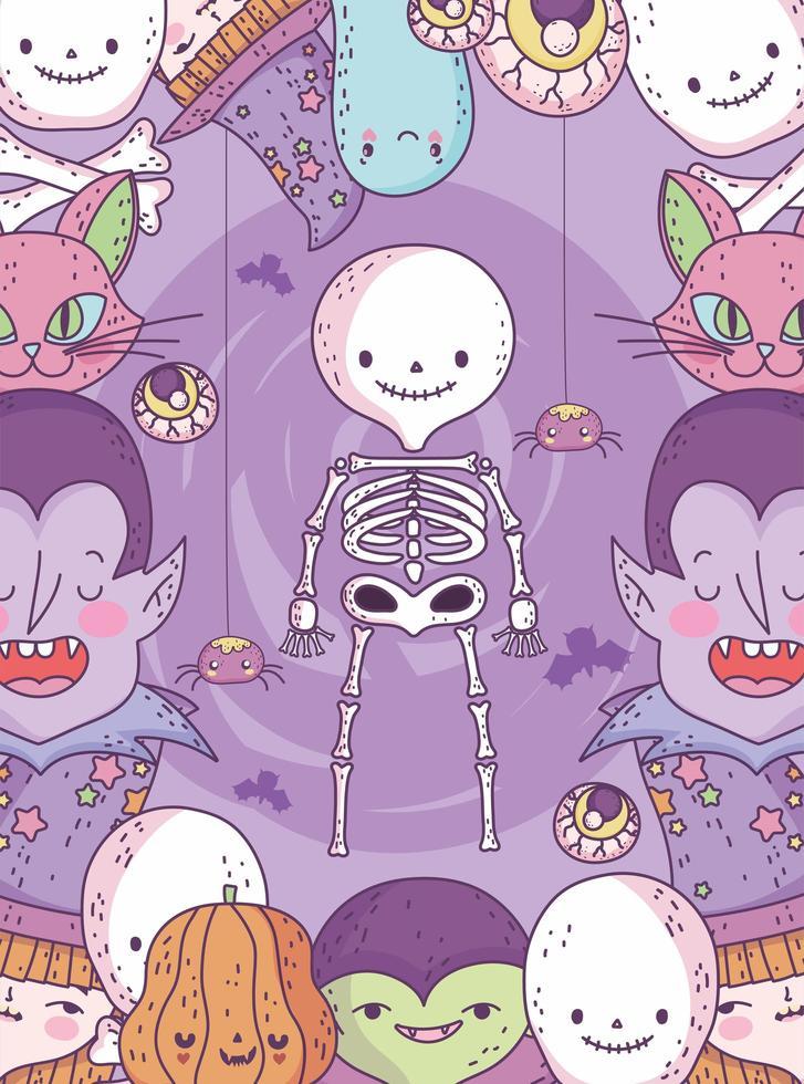 simpatico poster di halloween con piccoli personaggi vettore