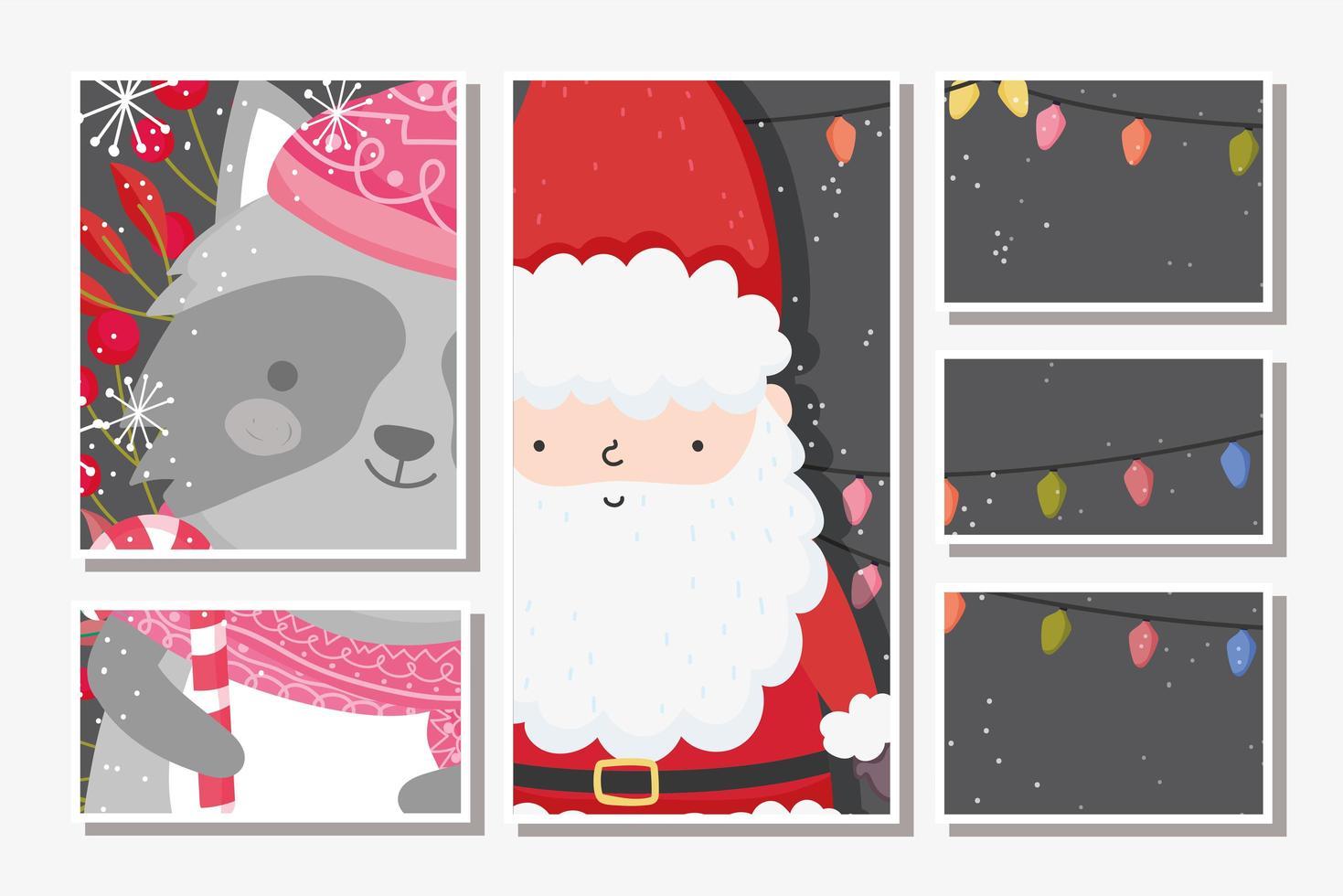 Merry Christmas card set con felice Babbo Natale e procione vettore