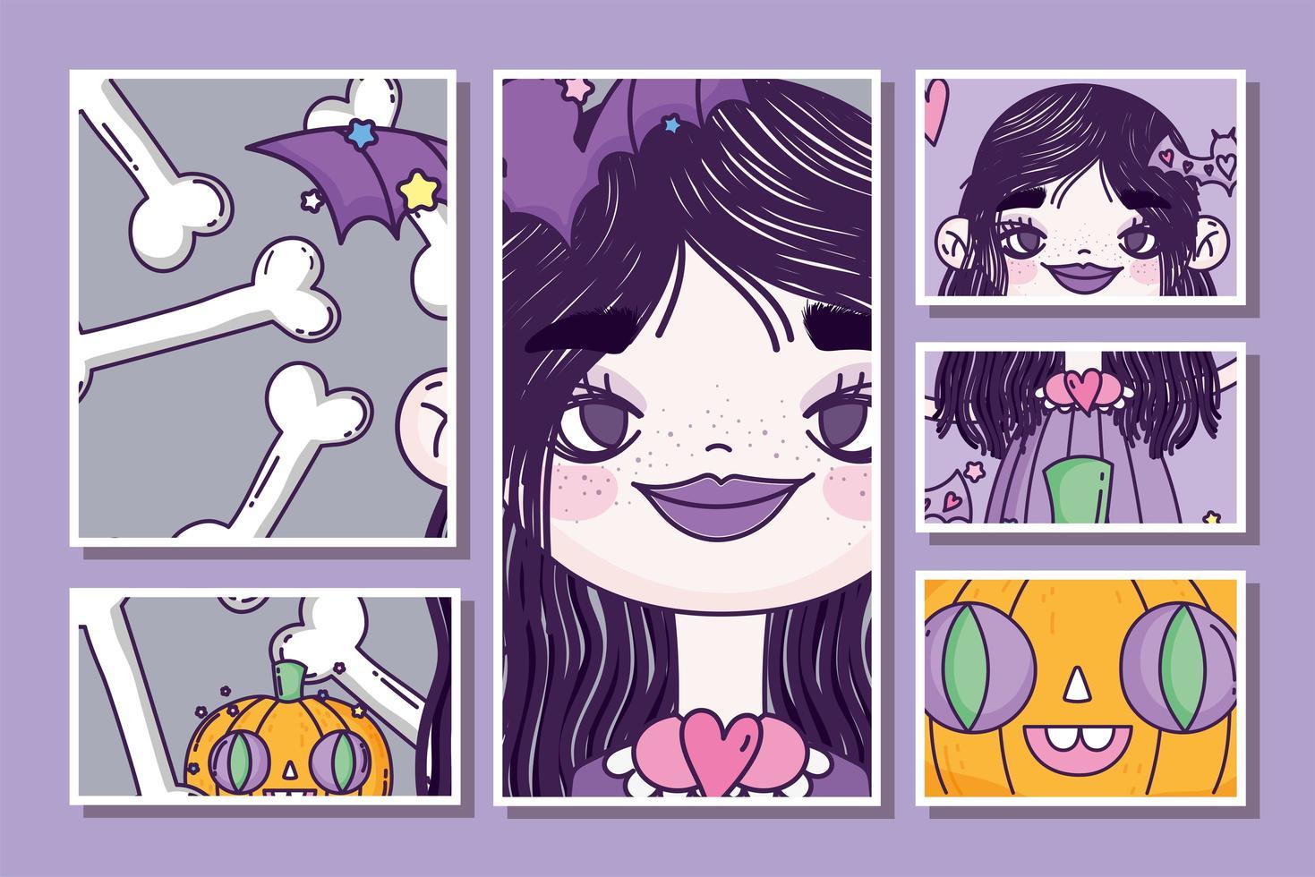 simpatico poster di halloween con piccola strega vettore
