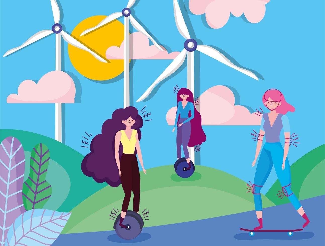 donne che fanno attività all'aperto in una città eco vettore