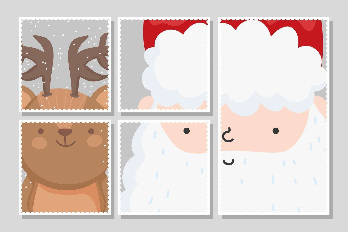 Merry Christmas card set con felice Babbo Natale e renne vettore