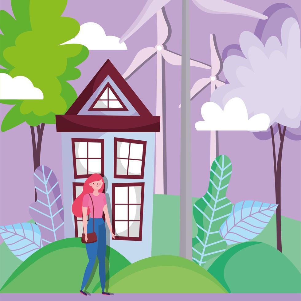 donna con casa e turbina eolica per il concetto di ecologia vettore
