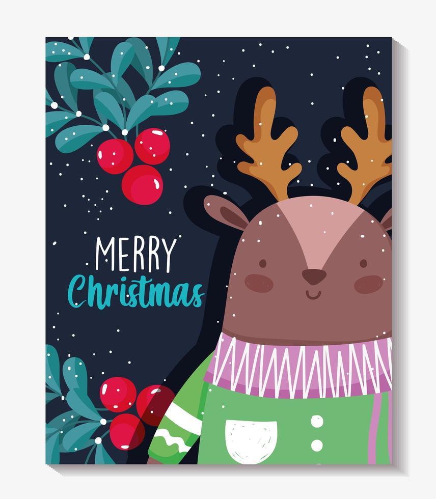 buon natale poster con renne felici vettore