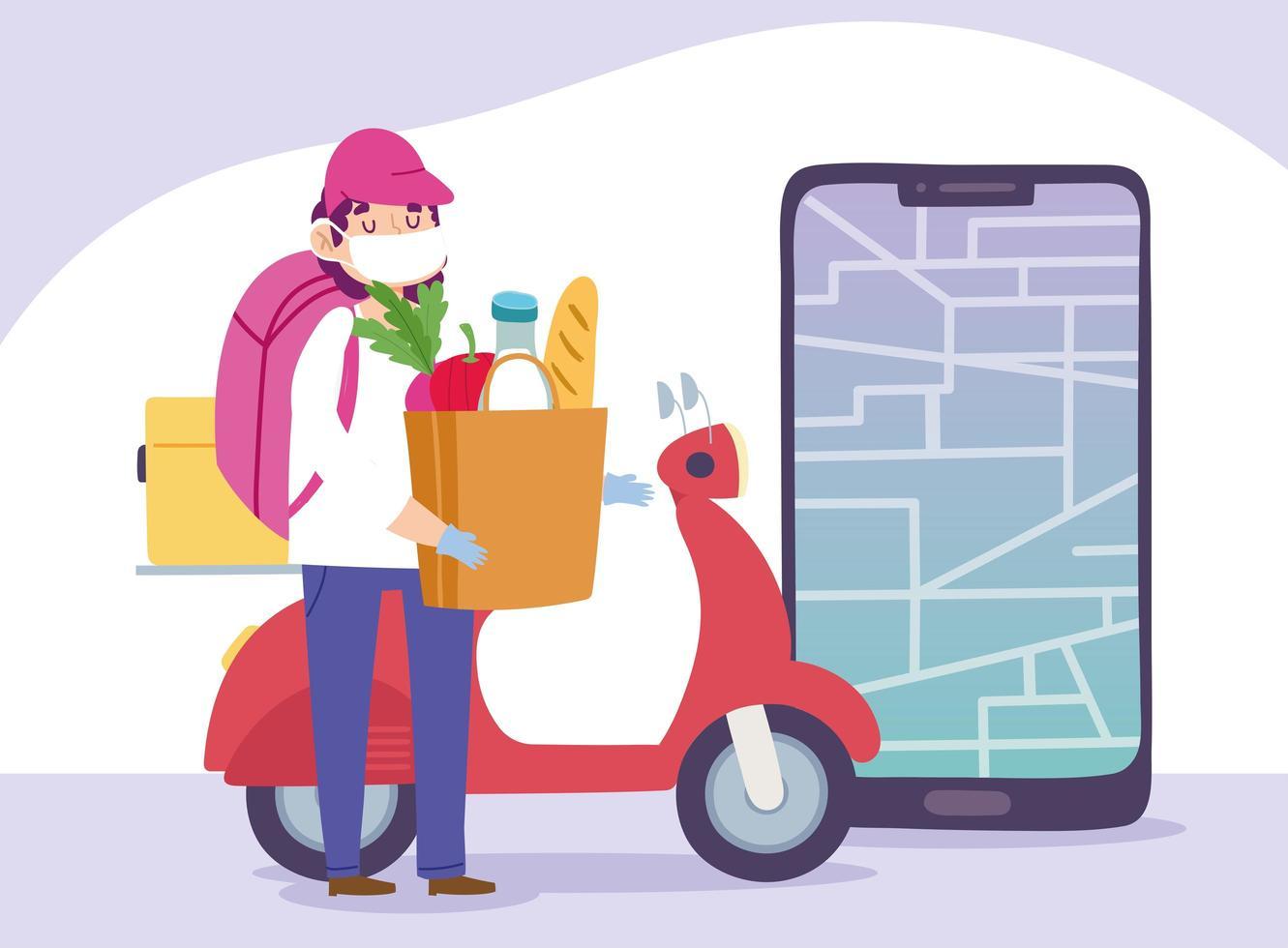 concetto di consegna sicura durante il coronavirus con corriere e scooter vettore