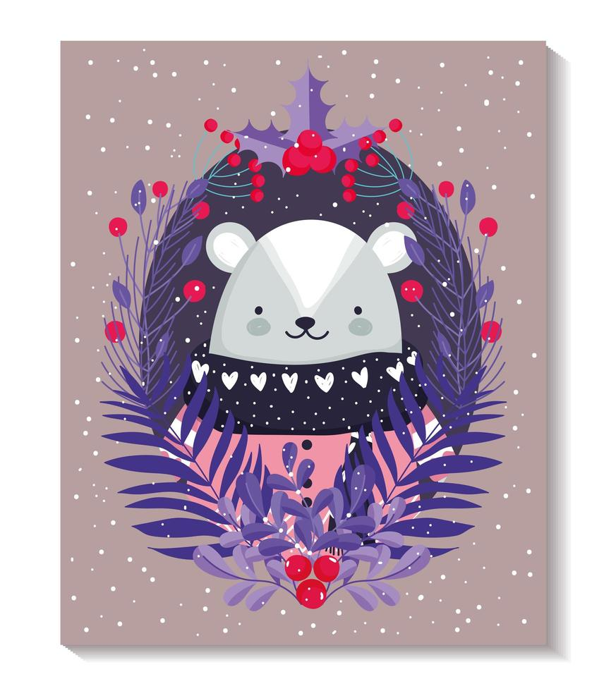 orso polare con maglione, bacche e fogliame per l'inverno vettore