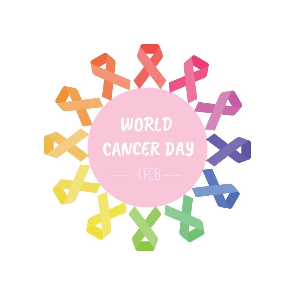 carta di giornata mondiale del cancro con forma di cuore dal nastro vettore