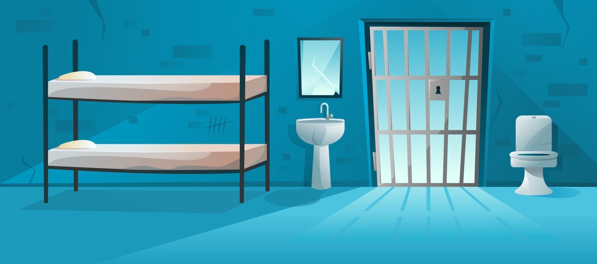 interno della cella di prigione con reticolo, porta a griglia, letto a castello, water, lavabo e illustrazione di muri di mattoni graffiati e incrinati. stanza della prigione in stile cartone animato vettore