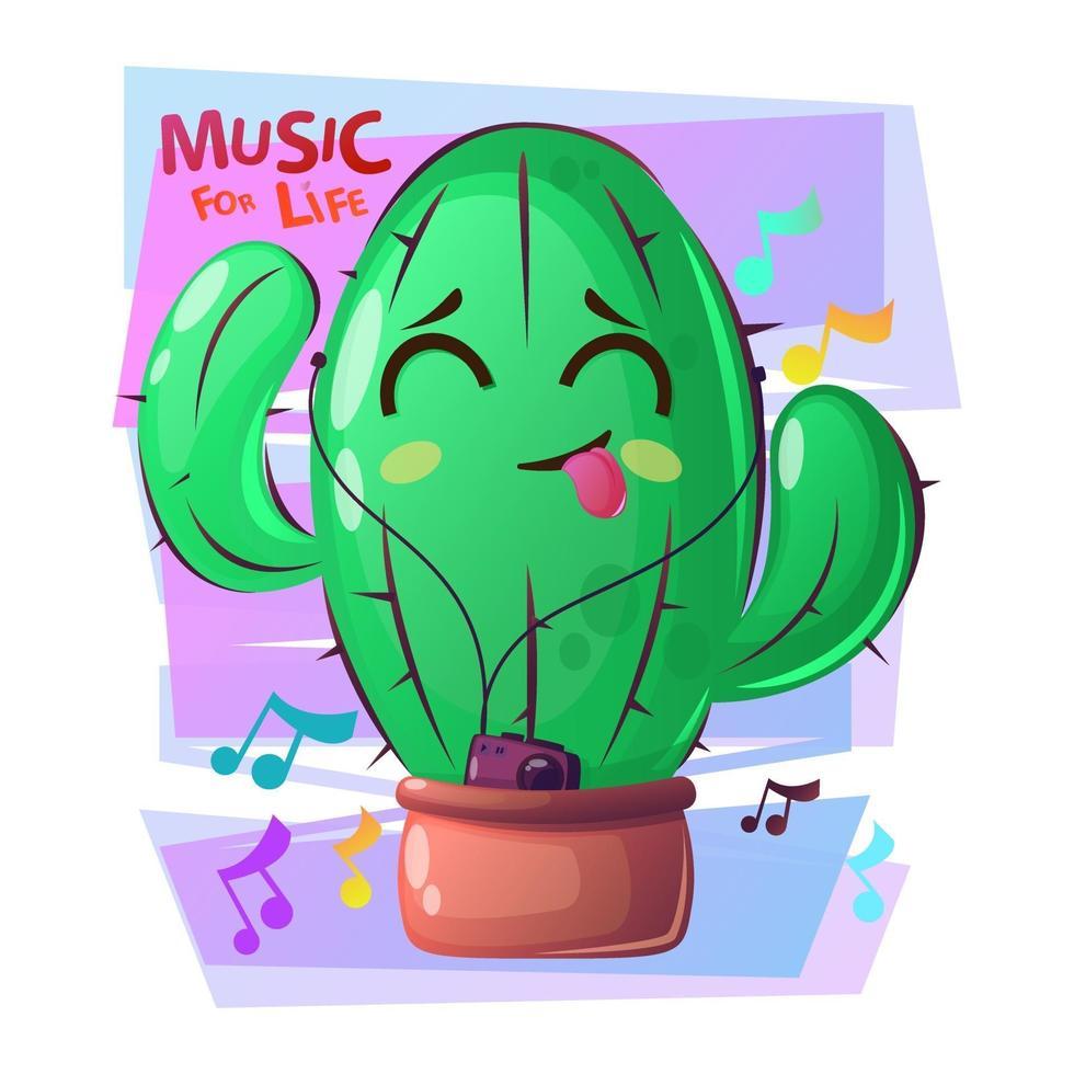 pianta di cactus che balla con la faccia felice. succulenta con il giocatore. stile cartone animato con slogan, musica dal vivo. vettore