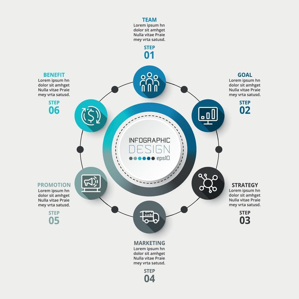 diagrammi circolari con 6 flussi di lavoro. può essere utilizzato per pubblicità aziendale o aziendale. vettore