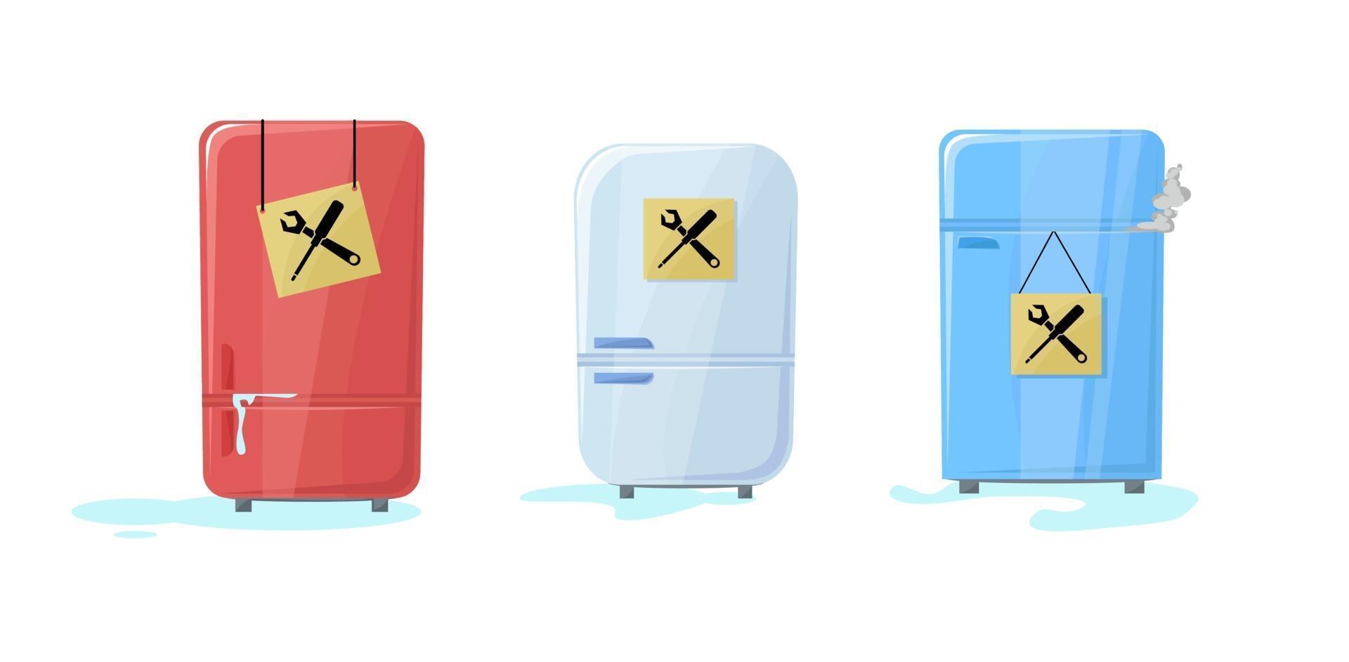 frigorifero rotto insieme con l'acqua che scorre fuori. il congelatore ha smesso di funzionare. un po 'di fumo dall'interno. frigorifero. cartello con icone di manutenzione. bisogno in servizio per risolvere. illustrazione vettoriale in cartone animato