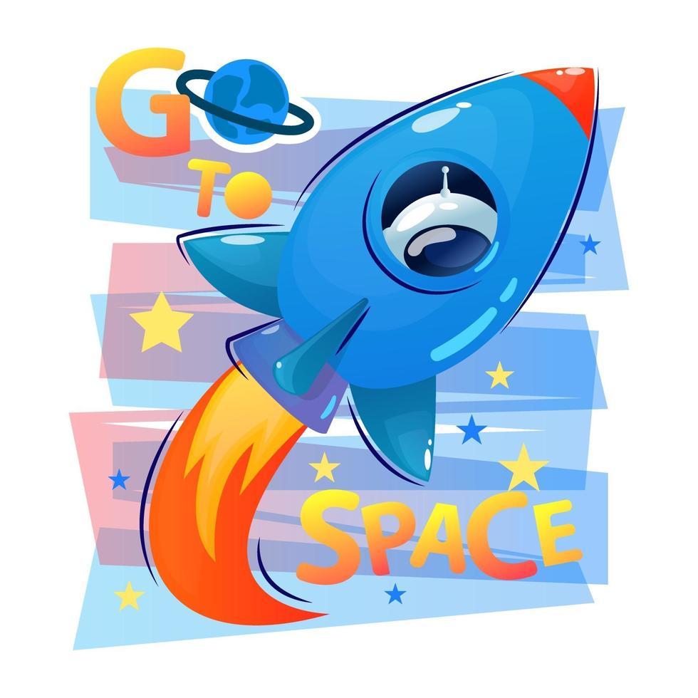 astronave vola in stile cartone animato con fuoco e cosmonauta o astronauta nella finestra. slogan. vai nello spazio. icona di vettore per il web design isolato su sfondo bianco