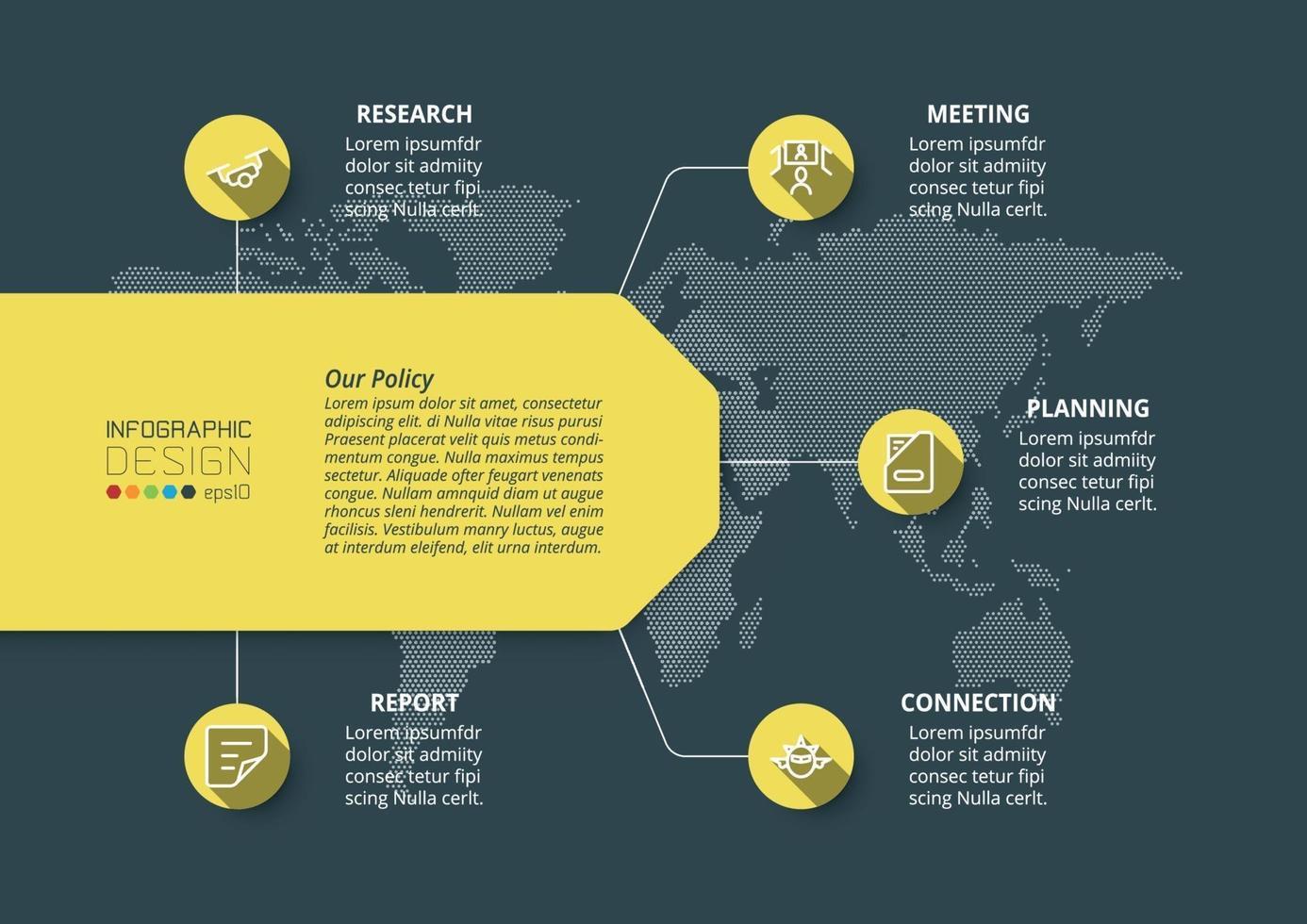 pianificazione del processo di lavoro della piattaforma aziendale. mezzi pubblicitari, marketing, presentazione di opere varie. vettore