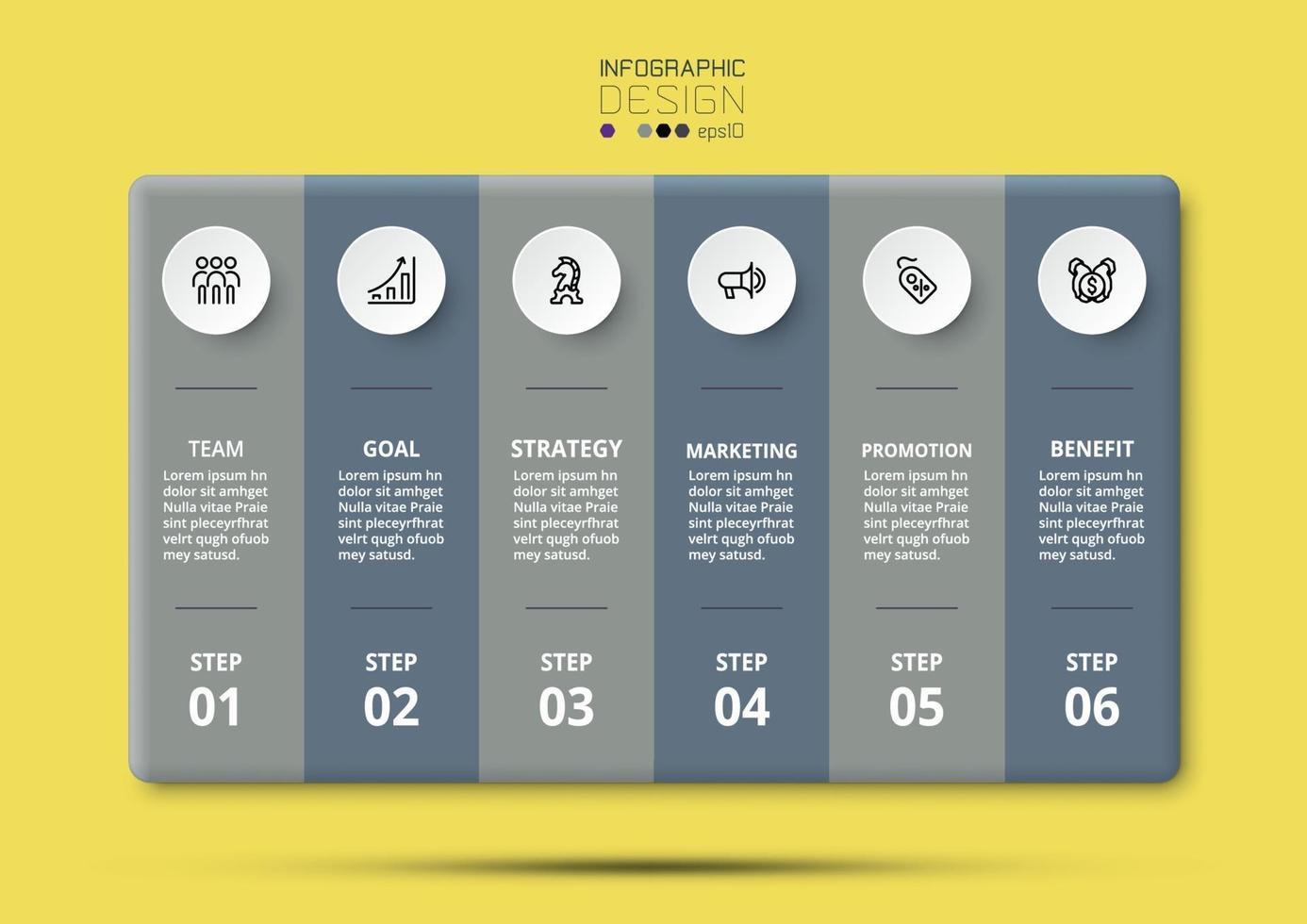 marketing e pianificazione aziendale 6 fasi di lavoro, pianificazione e rendicontazione. vettore