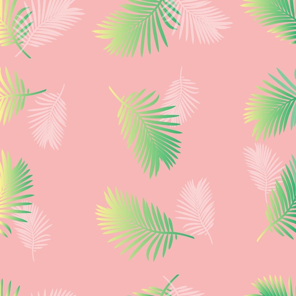 modello di foglia di palma pastello su sfondo rosa vettore