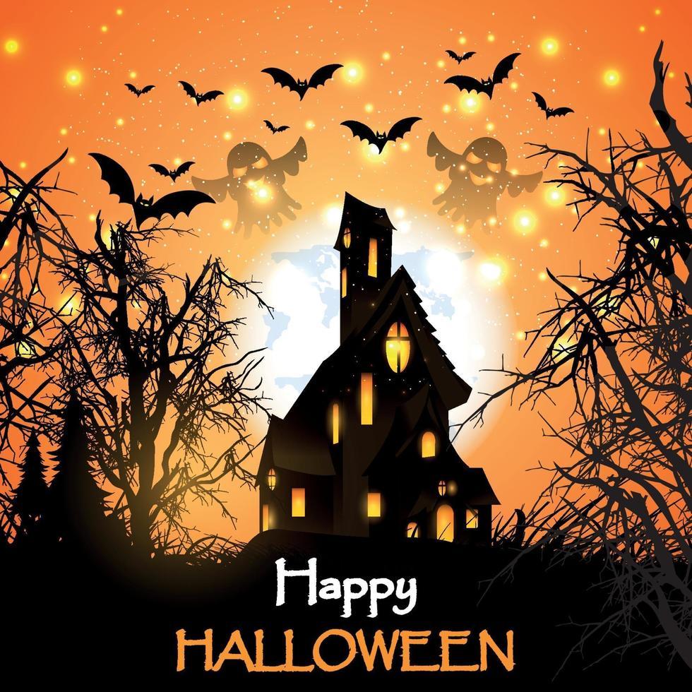disegno della casa stregata di Halloween vettore