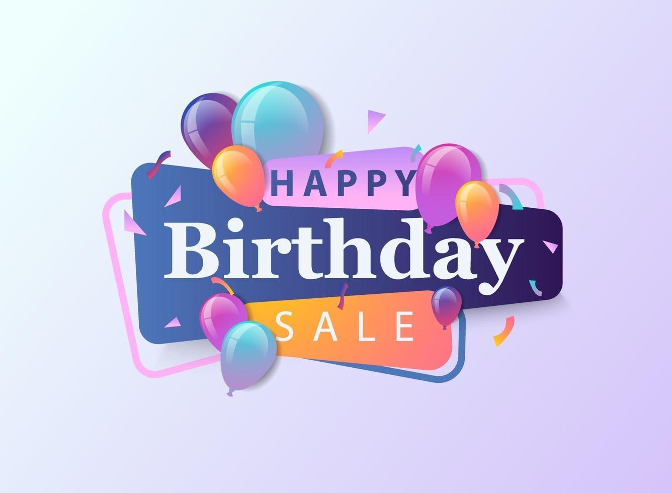 buon compleanno vendita celebrazione design per biglietto di auguri, poster o banner con palloncino, coriandoli e gradiente. vettore