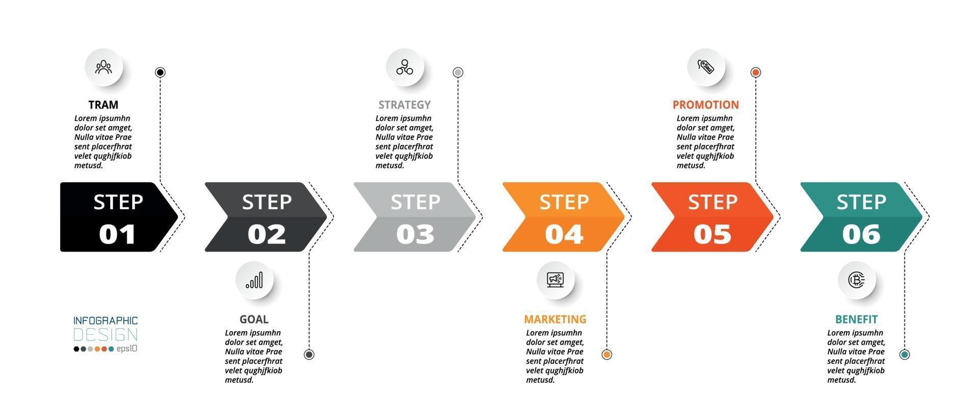 descrivere il processo attraverso l'etichetta della freccia, la cronologia, usarlo per la pianificazione del lavoro. vettore