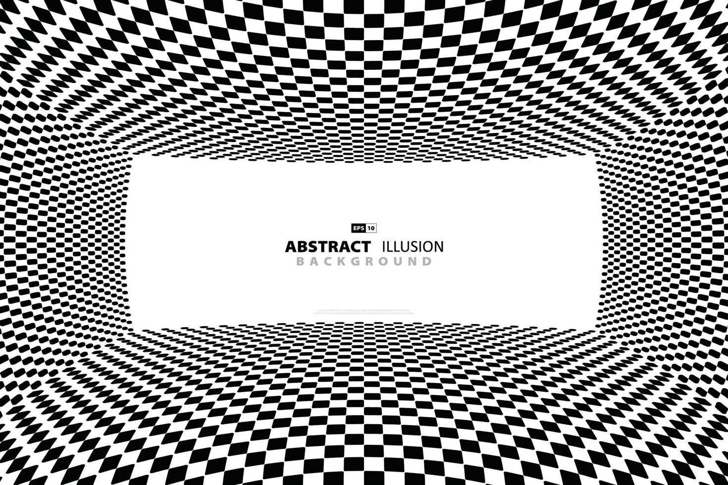 fondo di progettazione ottica del modello quadrato in bianco e nero astratto. illustrazione vettoriale