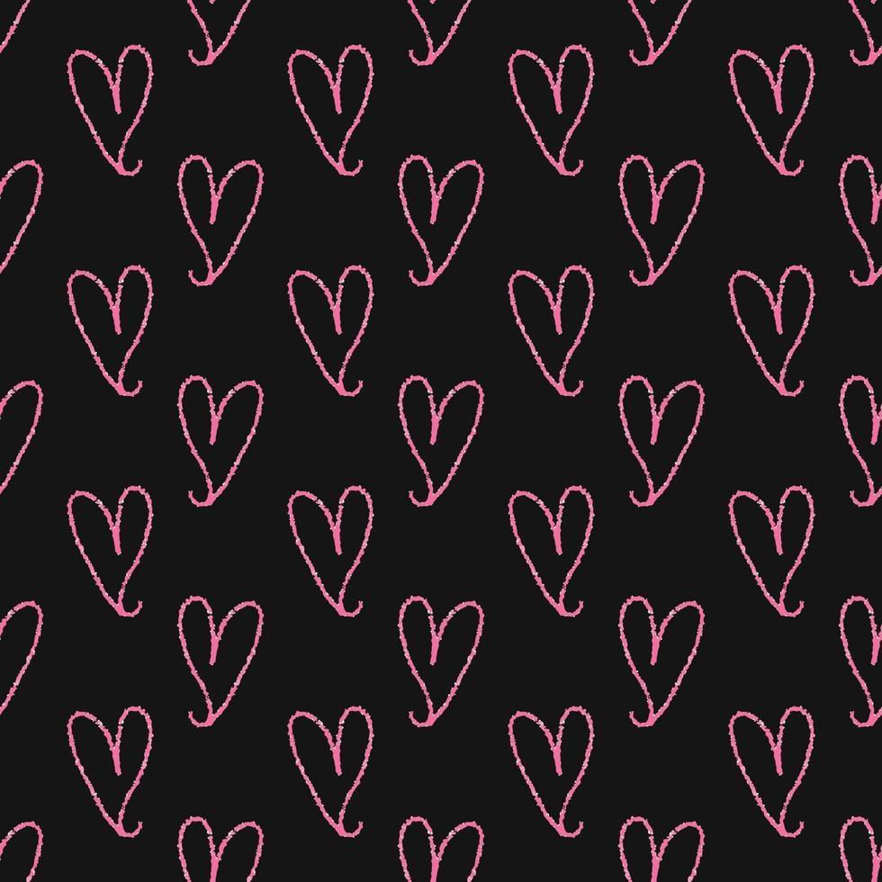 Fondo senza cuciture del modello di giorno di San Valentino dal cuore rosa di tiraggio della mano vettore