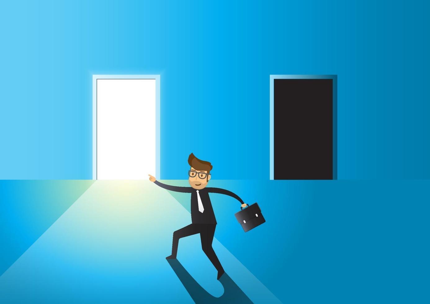 uomo d'affari concetto di affari di scegliere tra porta luminosa o scura vettore