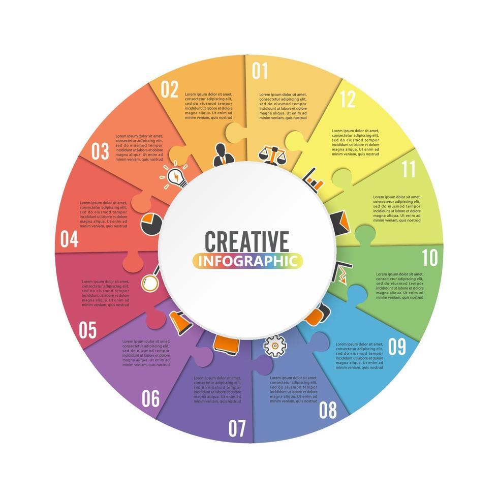 modello di infografica grafico circolare con 12 opzioni per presentazioni, pubblicità, layout, rapporti annuali. vettore
