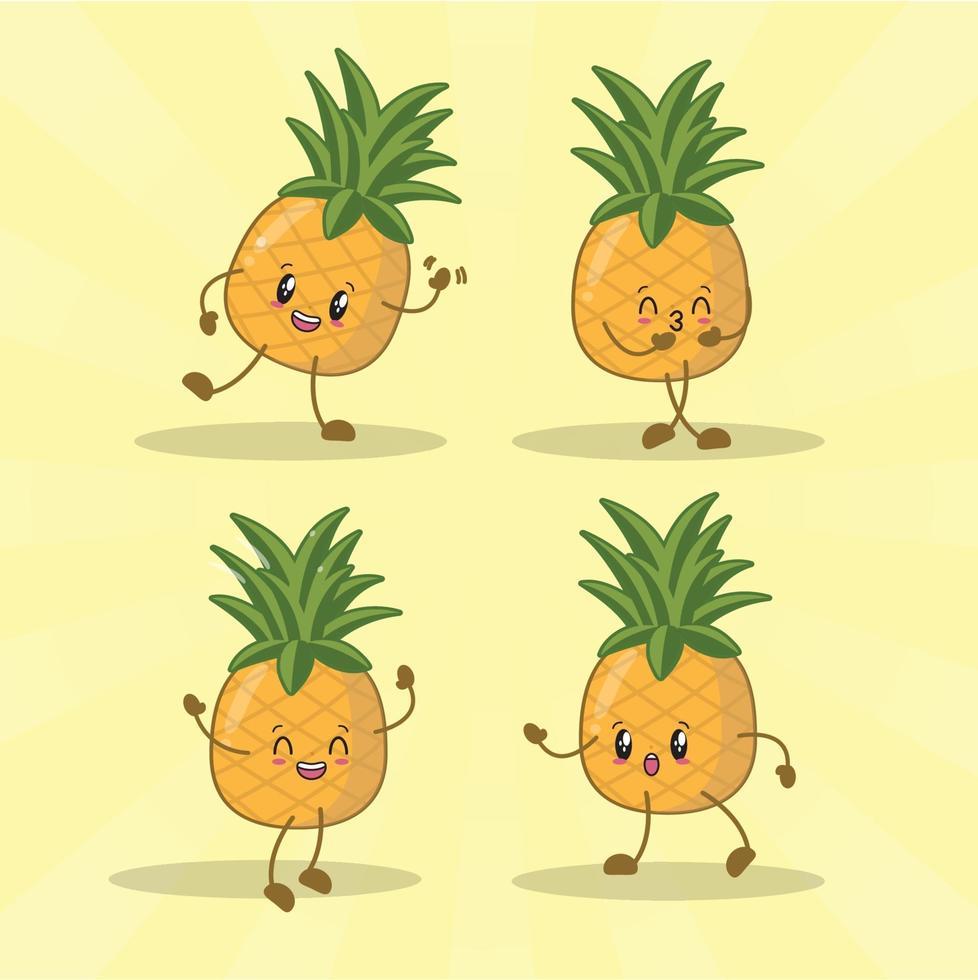 raccolta di set di espressioni carino ananas. personaggio mascotte di ananas vettore