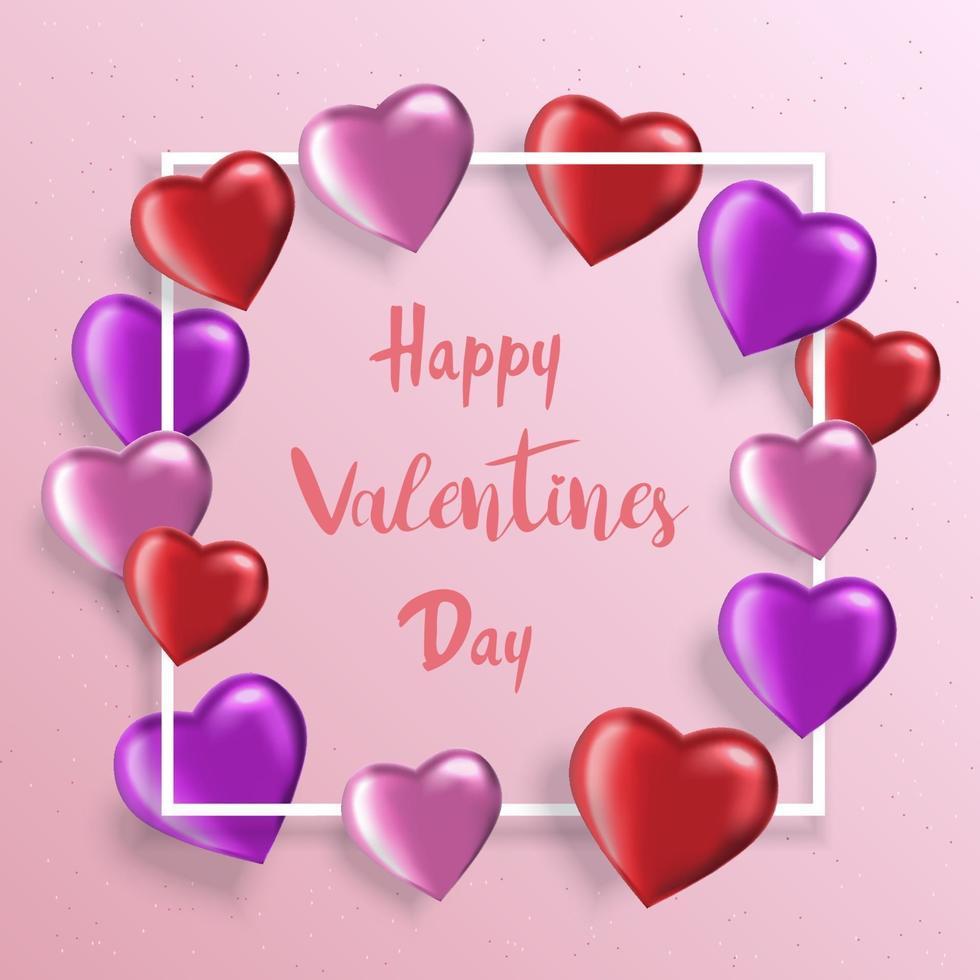 sfondo di San Valentino con palloncini realistici a forma di cuore. biglietto di auguri, invito o modello di banner vettore