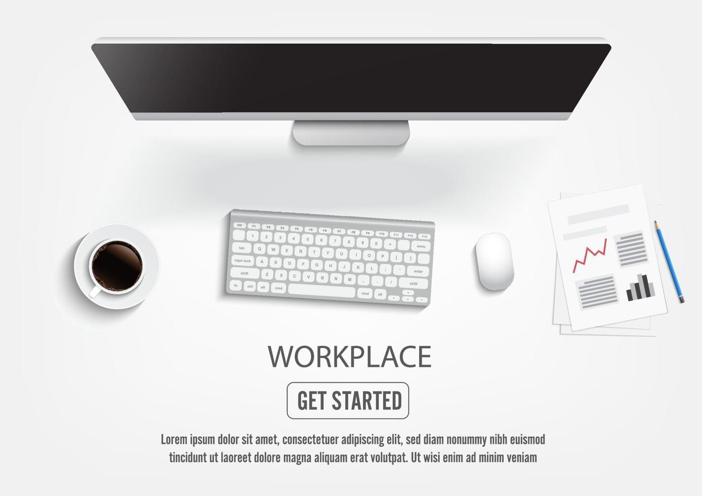 desktop realistico sul posto di lavoro. tavolo scrivania vista dall'alto, personal computer con tastiera. vettore
