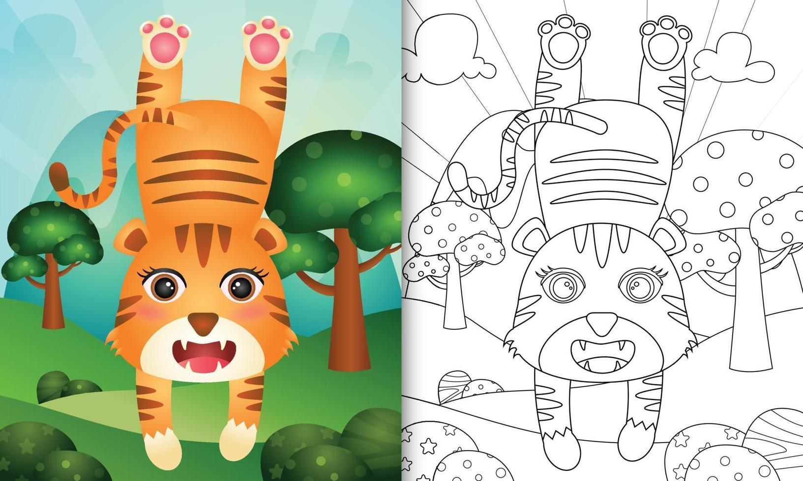 libro da colorare per bambini con un simpatico personaggio di tigre vettore