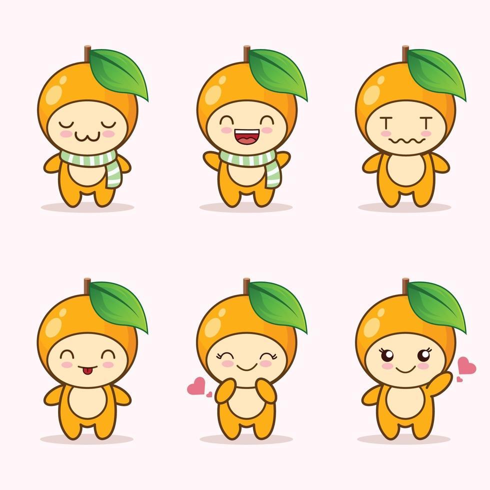 raccolta di set di espressioni carino arancione. personaggio mascotte arancione vettore