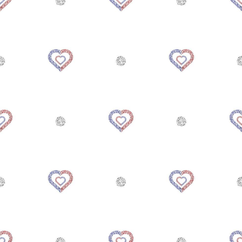 Fondo senza cuciture del modello di giorno di San Valentino con cuore glitterato bicolore e timbro a pois vettore
