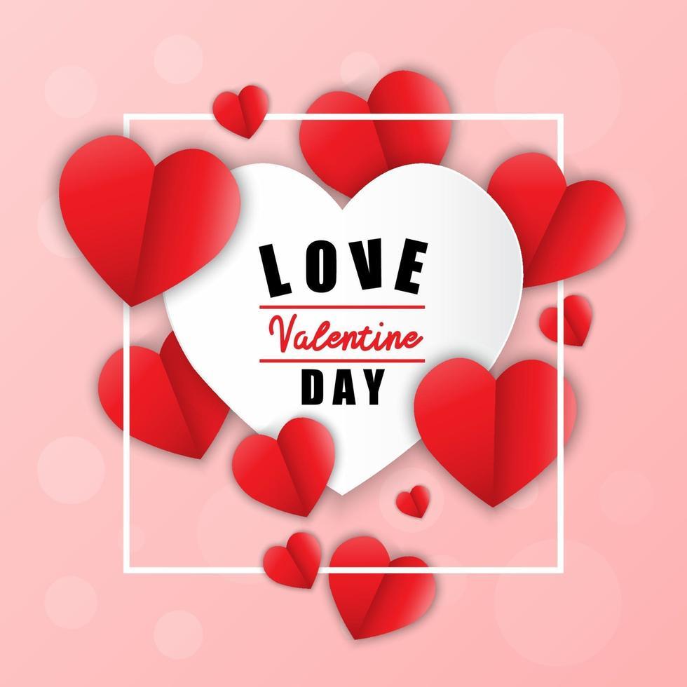 amore per San Valentino. buon san valentino e cuore di carta da disegno diserbo. sfondo rosa con ornamenti, cuori. vettore
