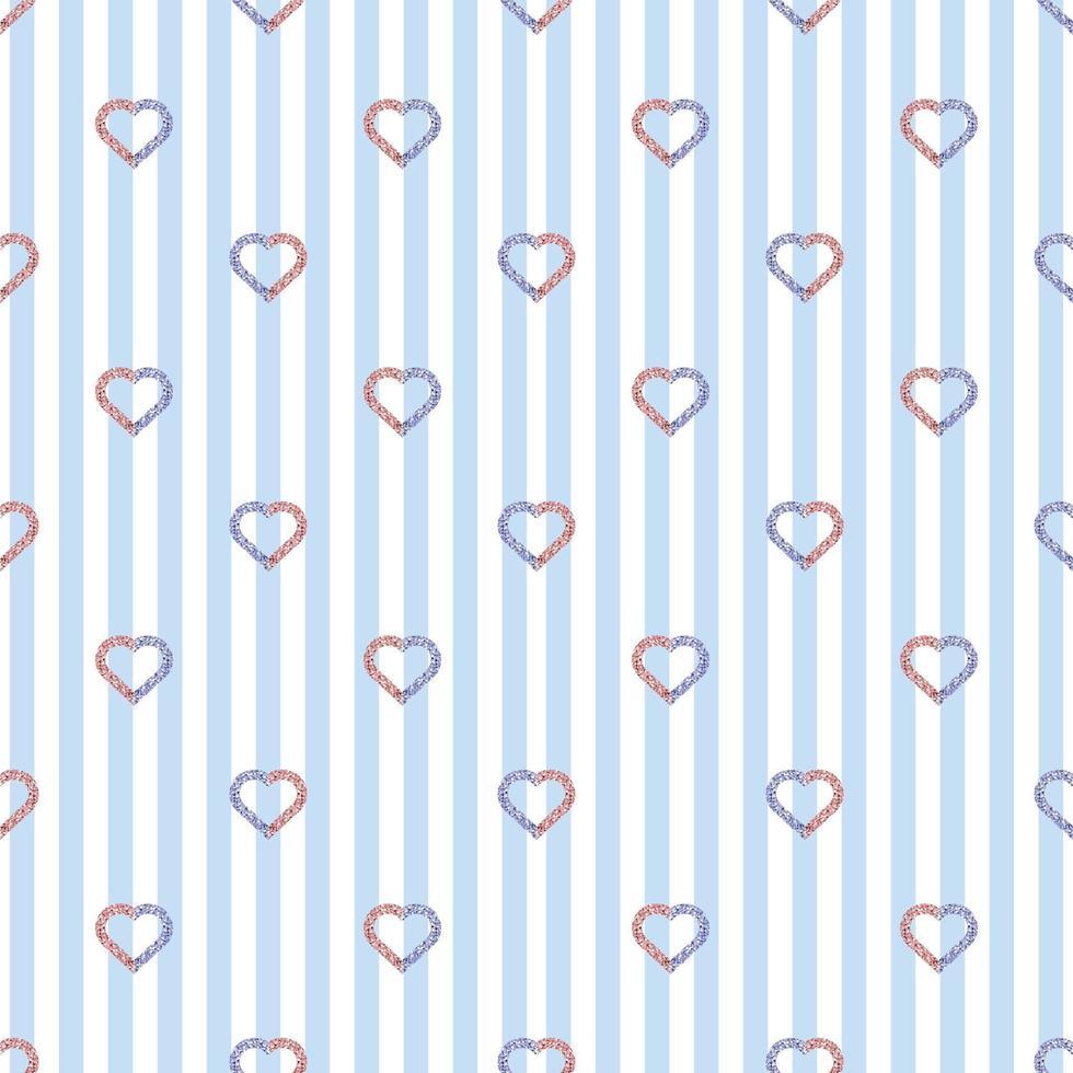 modello di giorno di San Valentino senza soluzione di continuità su sfondo a strisce blu con timbro a cuore glitter bicolore vettore