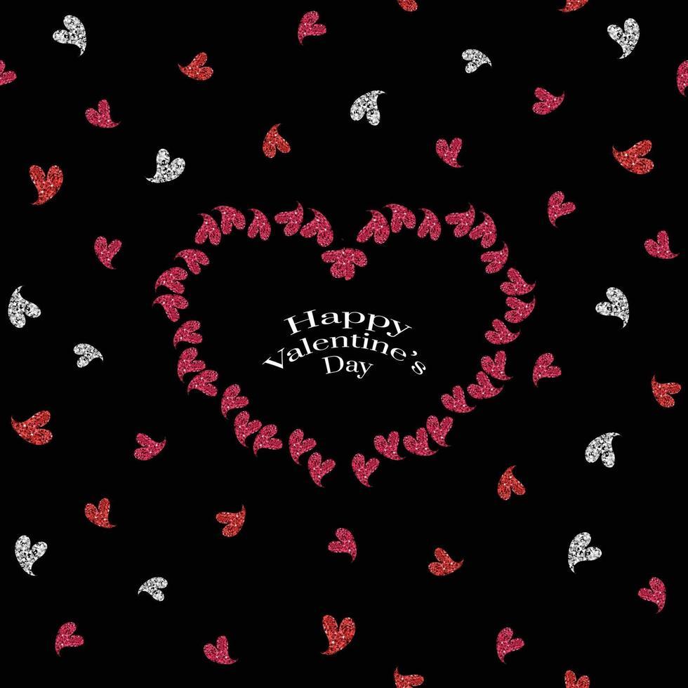 felice giorno di San Valentino sfondo pattern con cornice cuore glitter vettore